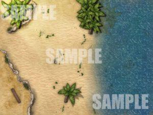 Island beach battle map TTRPG
