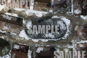 Snowy winter time city streets battlemap for TTRPGs