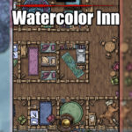 Watercolor Inn battlemap for D&D