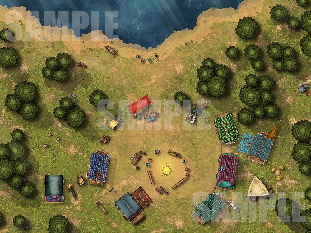 Wagon circle battle map encounter for TTRPGs