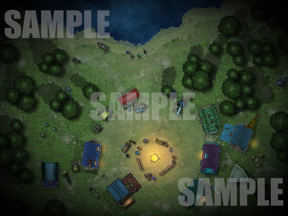 Romani style caravan battle map for D&D