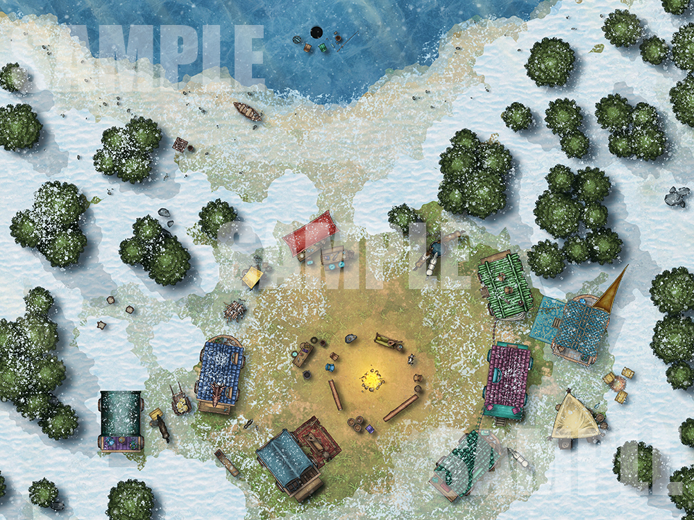 Vistani caravan camp battle map for D&D with fantasy ground support