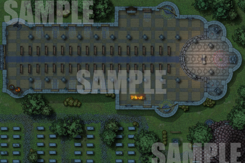 Cathedral at night battle map