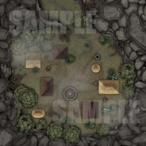Crater village battle map for TTRPGS with Fantasy grounds support
