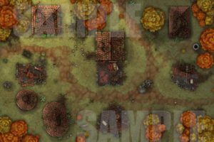Druid's wrath is a decimated village in ruins, a battle map for TTRPGs such as D&D or pathfinder with fantasy grounds support
