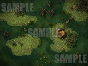 Marsh battle map encounter for TTRPGs with Fantasy Grounds support
