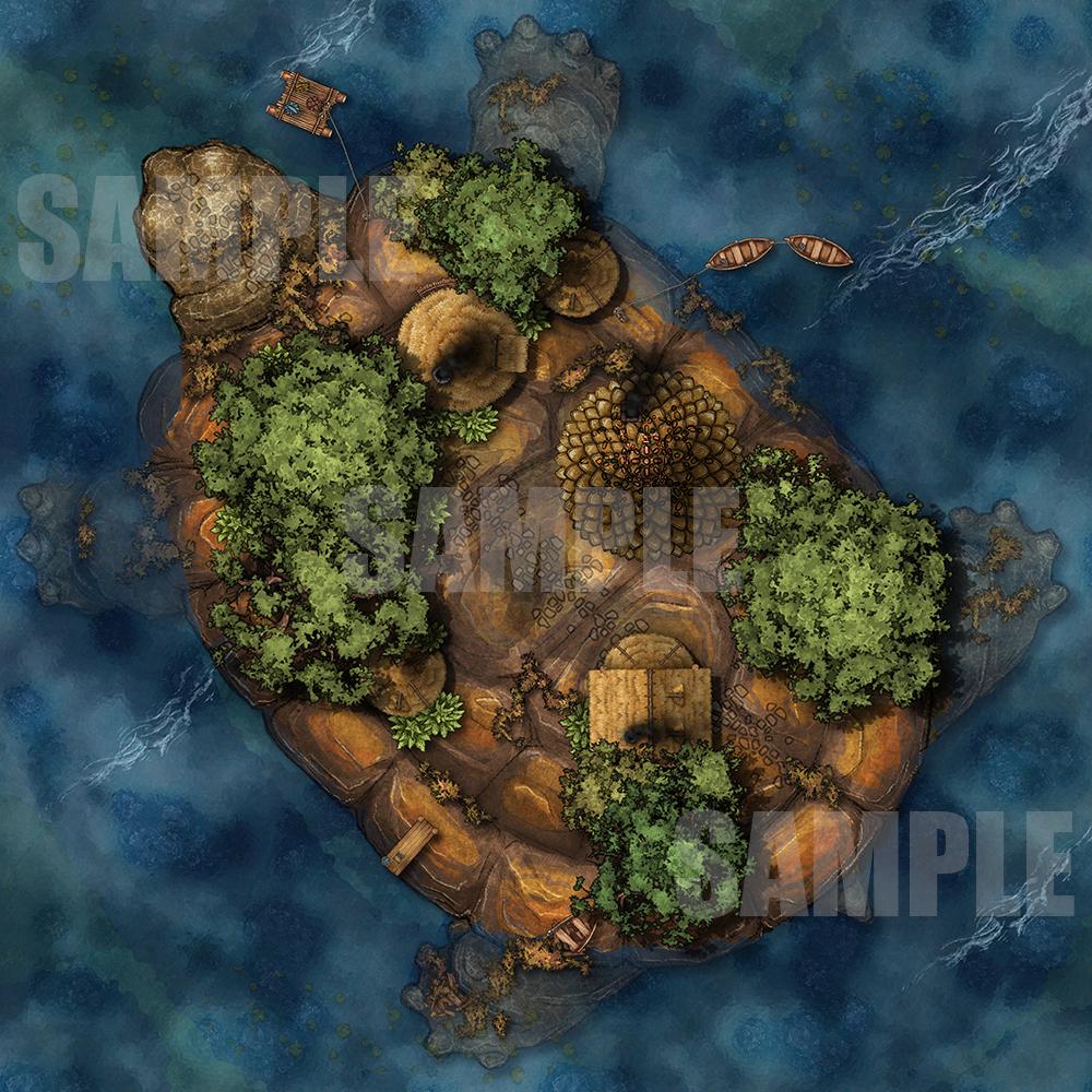 Turtle Island battle map for D&D