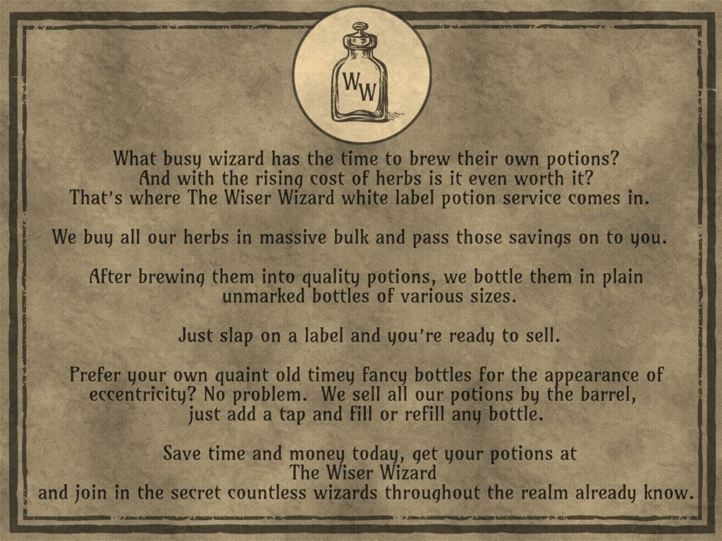Wiser Wizard potion making company flyer