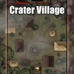 D&D battle encounter map of a small village in a crater with fantasy grounds support
