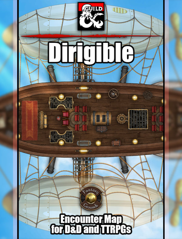 Hot air ship battle map dirigible for TTRPGs such as D&D or pathfinder with fantasy grounds support
