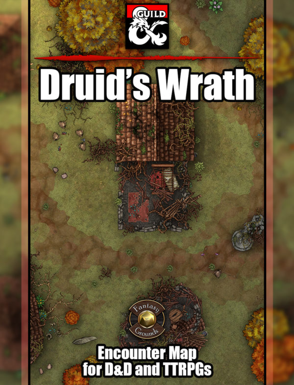 Druid's Wrath battle map cover, a battle encounter map featuring a destroyed village in D&D