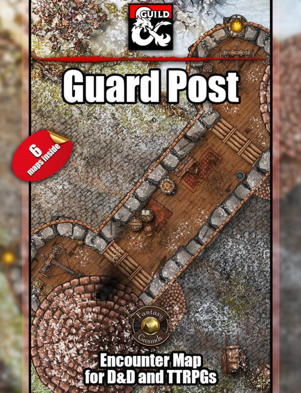 Six guard post battle maps for D&D