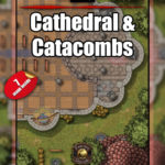 Cathedral catacombs with ritual casting battlemap
