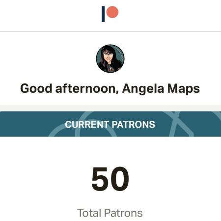 Fifty patrons for Angela Maps
