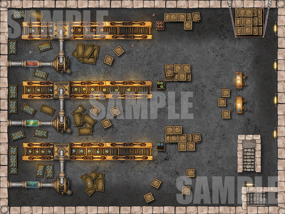 Factory encounter map for TTRPGs like D&D or Pathfinder