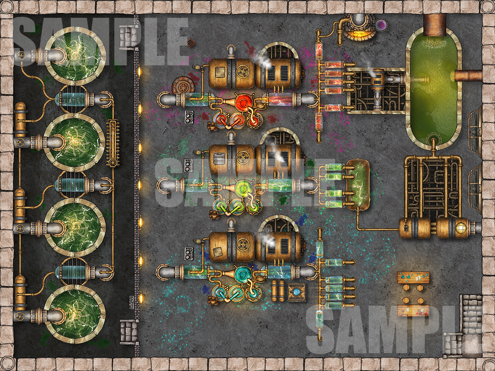 Potion making floor of a factory battle encounter maps for TTRPGs