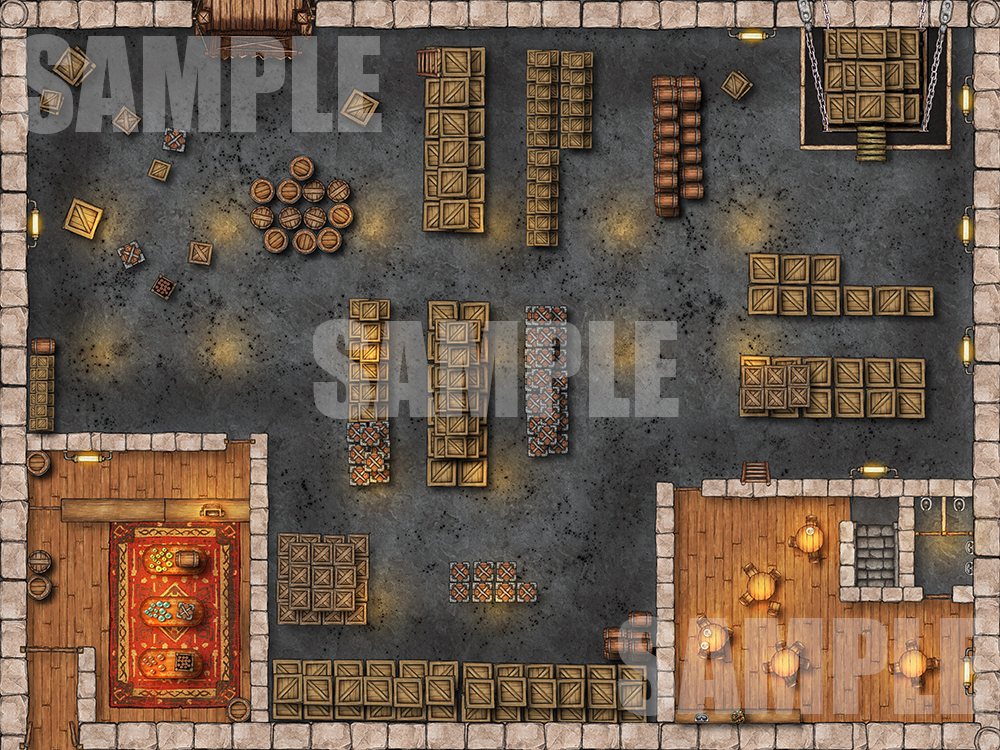 Factory Warehouse battlemap for D&D and pathfinder