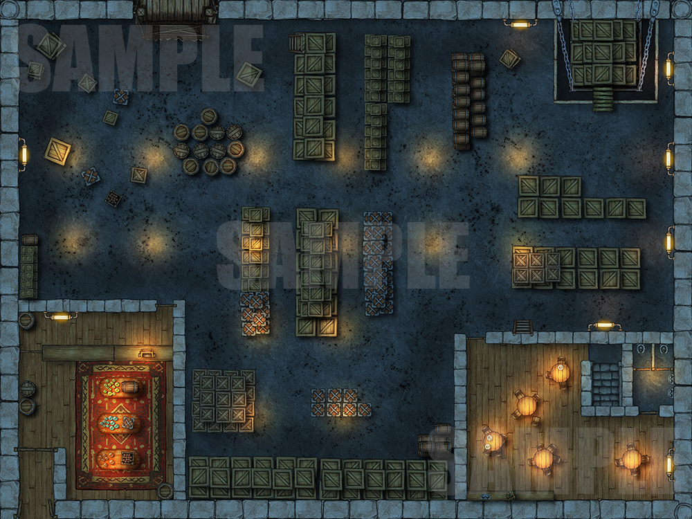 Warehouse encounter map for D&D and other TTRPGs