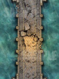 Destroyed crumbling bridge battlemap for D&D and pathfinder