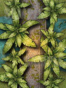 Jungle bridge surrounded by palm trees battle encounter map for D&D