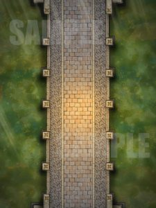 Bridge over toxic green water battle encounter map for D&D or pathfinder