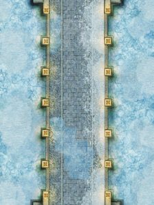 Snowy winter bridge battle map encounter for D&D and pathfinder with fantasy grounds support
