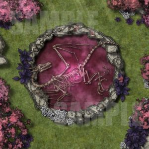 Dragon's rest battlemap featuring dragon bones in a magical pool for D&D and Pathfinder with Fantasy Grounds