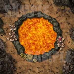 Lava well battlemap in a desolate area with fantasy grounds support for D&D