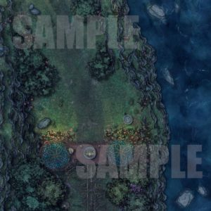 Night time battle map in a small pass by a cliff with a guard post for D&D with fantasy grounds support.