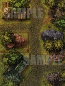 Battlemap of a small village street for D&D or pathfinder with fantasy grounds support