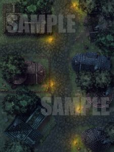 Night time village street encounter map for D&D with fantasy grounds support
