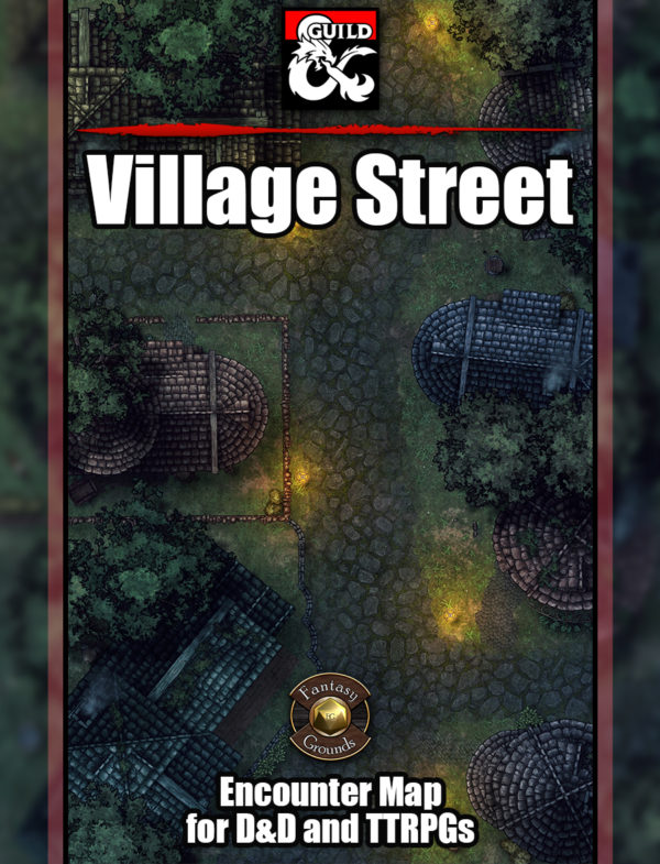 Village street battle map encounter for D&D with fantasy ground support