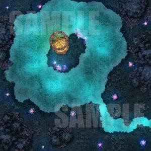 D&D dark forest battle map with golden gazebo