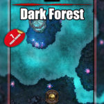 Dark forest battle map pack with 7 map variants and support for fantasy grounds and foundry vtt.