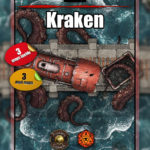 Kraken attacking a train battle map for D&D