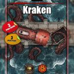 Kraken attacking a train battle map for D&D