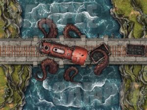 Kraken train attack battle encounter map for TTRPGs with animated versions
