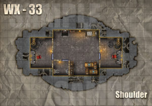 Warforged colossus WX-33 battle encounter map for D&D