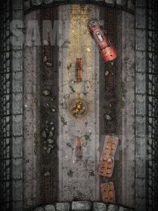 Destroyed subway station D&D battle map