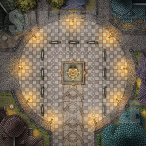 Town square with nice statue in fountain for D&D