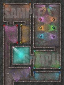 Rainbow temple battle map for D&D
