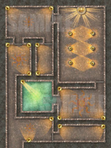 Sun god temple battle map for pathfinder or D&D