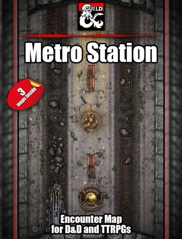 Eberron train station both functional and destroyed battle map for D&D