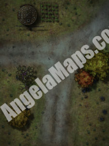 Battle map encounter on a road by a mill at night for D&D