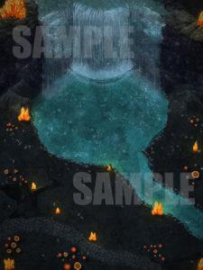 Underdark waterfall D&D battlemap