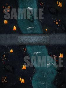 D&D underdark battle map with river