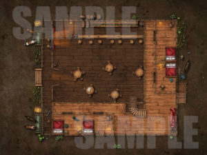 Saloon uppper floor battle map for D&D