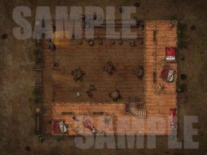 Trashed saloon upper floor battle map for D&D