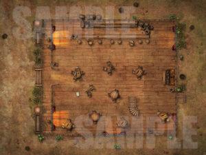 Abandoned saloon D&D battle map