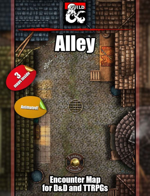 Alley D&D battle map cover from Angela Maps